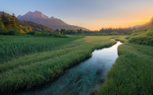 Late summer afternoon at Zelenci natural reserve