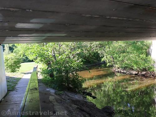 Walking under the Lake Road bridge, Webster Park, New York