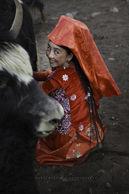 Kyrgyz Shepherdess in Uchjilgha village. Pamir, Afghanistan.