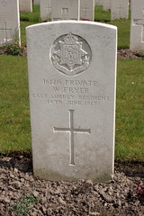 Grave of Private W Fryer Poperinghe New Military Cemetery Belgium
