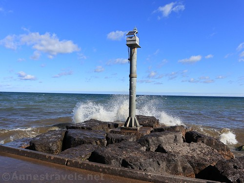 The lighthouse at the end of the pier, Webster Park, New York
