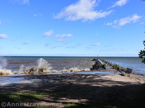 Waves breaking near the fishing pier, Webster Park, New York