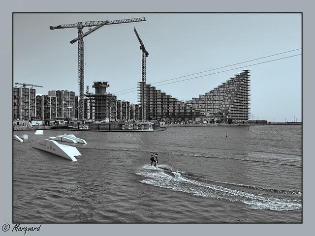 Baugelände und Spielgelände im Aarhus Hafen, Dänemark