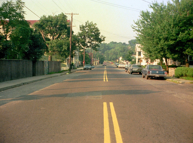 In the summer, I used to love taking a bike ride around the neighborhood in early morning before people began waking up. Here, my Kodak Pocket 40 shows how Merwin Avenue used to look. Milford CT. July 1973