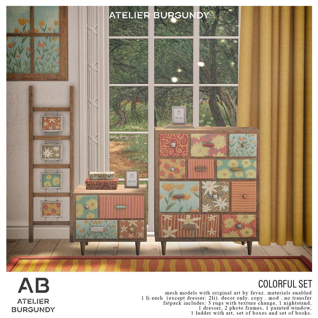 Atelier Burgundy . Colorful Set