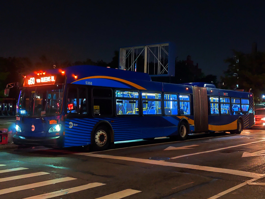 """2015 New Flyer """"Xcelsior"""" XD60 5368 on the Q60 at Queens Boulevard & Woodhaven Boulevard"""