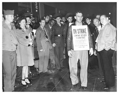 Greyhound drivers hit the bricks over wages: 1945
