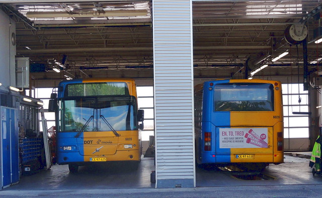 Route 300S 2008 Volvo B12BLE Nobina 6020 and 6028 seen in their Glostrup workshop