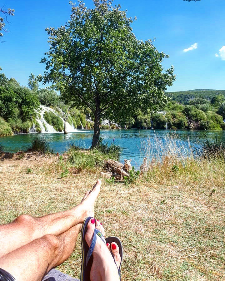 Trips together are the best, here we have a rest and swim at the waterfall in Zmranja