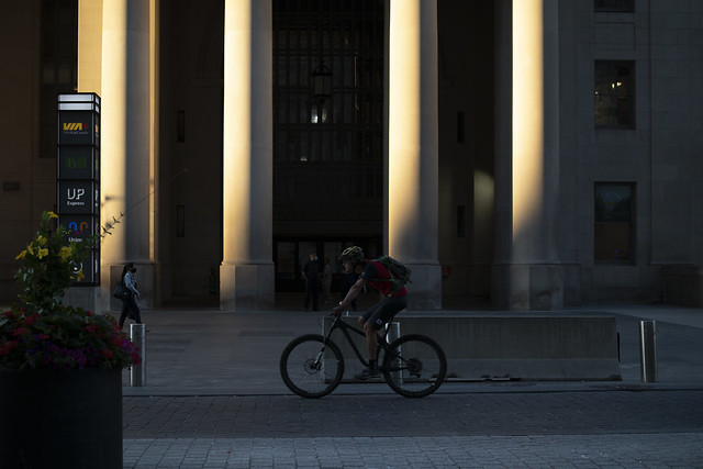 Union Station and cyclist