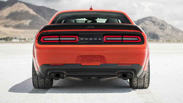 2020 Dodge Challenger SRT Super Stock: Equipped with standard lightweight 18-inch-by-11-inch wheels in Low Gloss Granite finish, riding on sticky 315/40R18 Nitto NT05R drag radials at all four corners.