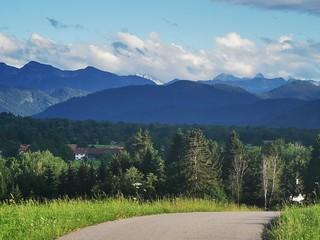 Village Road Mountains Alps Forealps Upper Bavaria Germany © Dorfstraße Voralpenland Berge Bayern Oberbayern ©