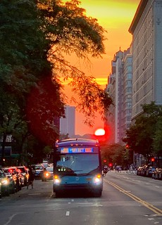 Big Red Sunset over a Big Bus
