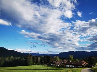 Village Blue Sky Clouds Meadow Pasture Field Upper Bavaria Germany © Dorf Blauer Himmel Wolken Feld Wiese Bayern Oberbayern ©