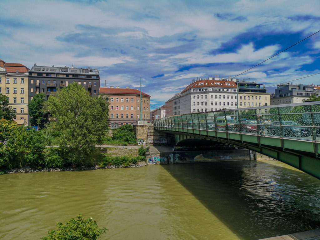 The Peace Bridge across the Viennese Danube Canal.