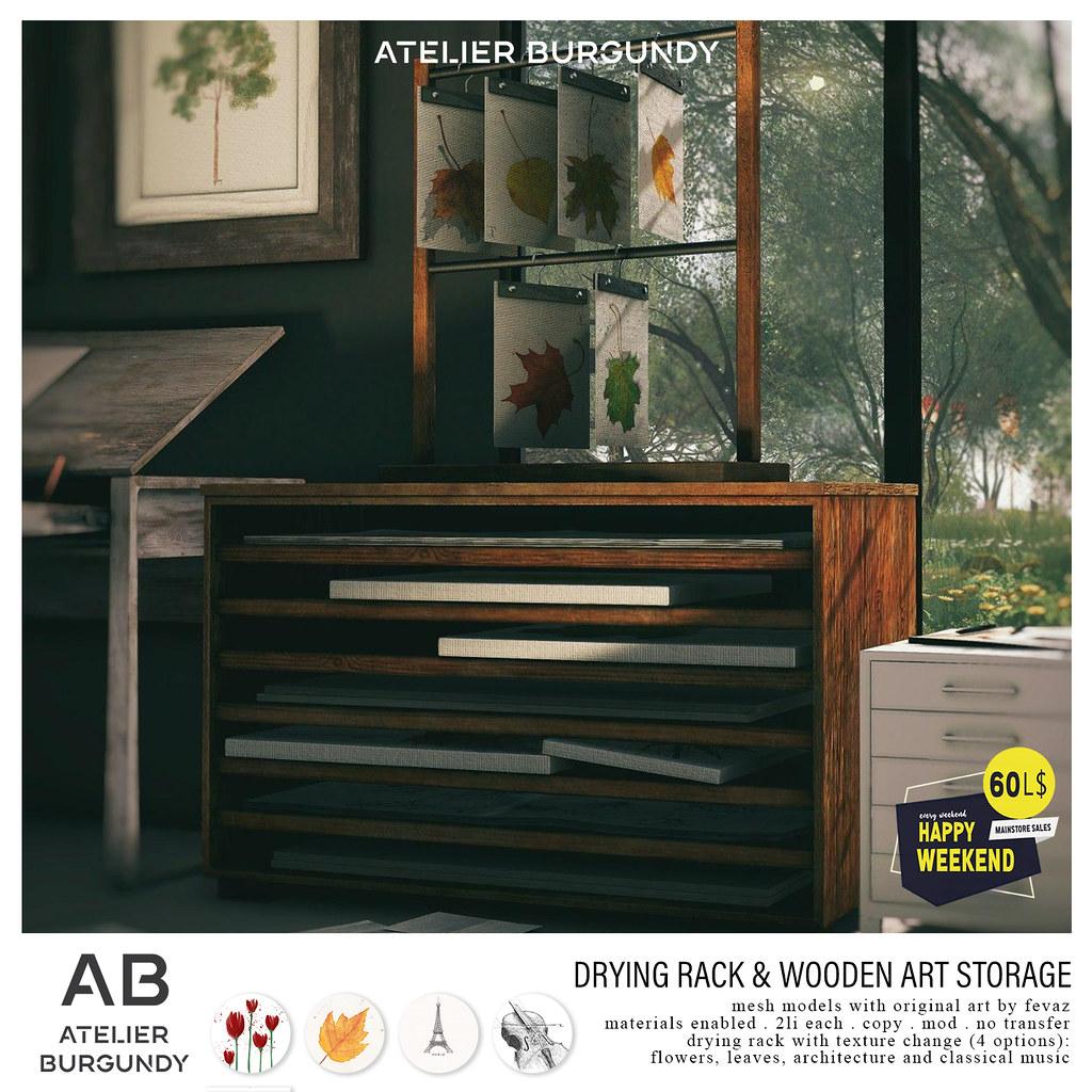 Atelier Burgundy . Drying Rack & Wooden Art Storage