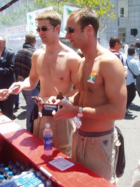 DOUBLE HOT MUSCLE HUNKS ! HAPPY PRIDE ! PHOTOS of PAST PRIDE PARADES !(San Francisco 2005) (safe photo)E