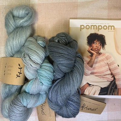 Another suggestion for your Susurrus - Manos Fino in Watered Silk and Storm Glass and Lichen and Lace Marsh Mohair in Beach Glass.