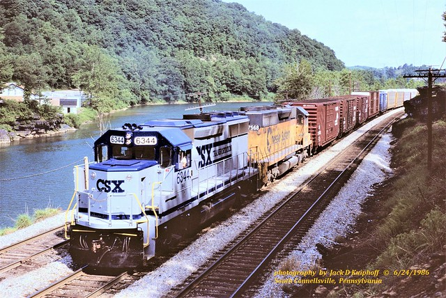 CSX 6344-7568, R396, S. Connellsville, PA. 6-24-1986sm FLIC