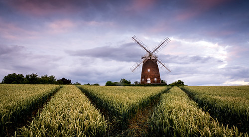 windmill thaxted sunset fields country