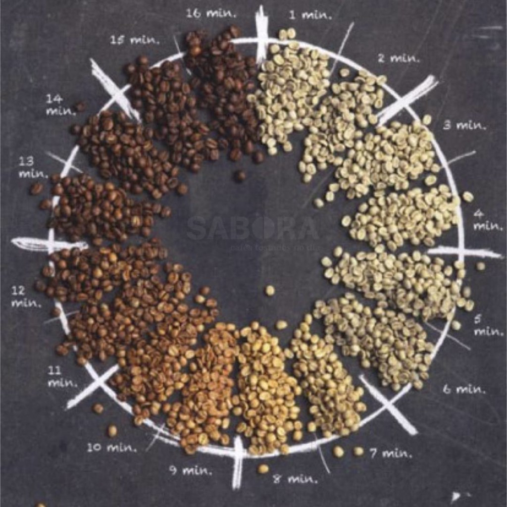 Evolución de los granos de café en el proceso de tostado
