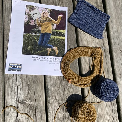 I didn't cast on my Soundtrack by Olive Knits 4 Day KAL on July 1 but I did cast on July 2nd! I am using Stolen Stitches Nua Worsted.