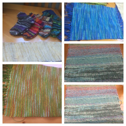 Diane has been busy knitting socks and weaving! Blue and green and yellow placemats (top right and bottom left) are Ashford cotton and caterpillar cotton, experimenting (centre and bottom right) with Navia Bummull and ribbon yarn.