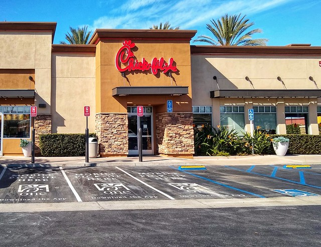 Chick-fil-A at 5 minutes drive to the east of San Marcos dentist Allred Dental