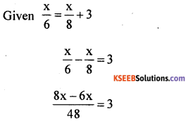 KSEEB Solutions for Class 8 Maths Chapter 8 Linear Equations in One Variable Additional Questions 1
