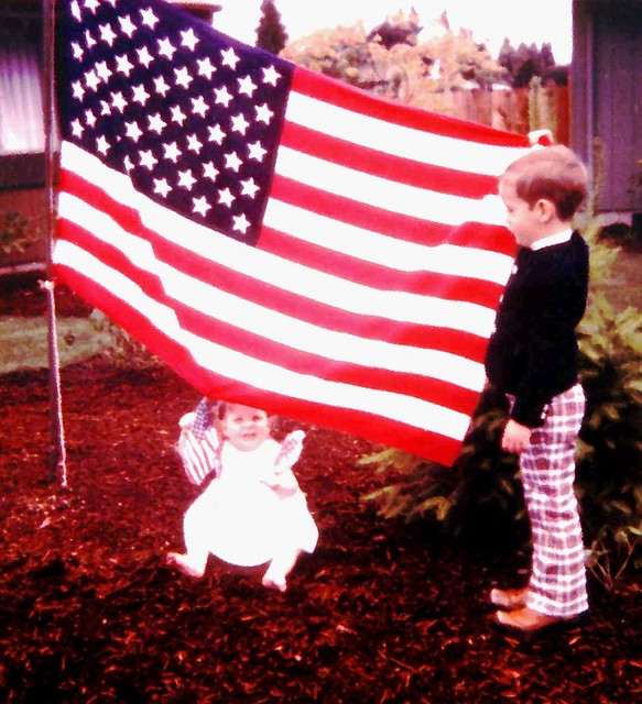 My Children with Flags ~ 4th of July ~ Bicentennial of America 1976