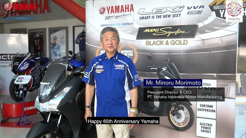 Minoru Morimoto (President Director & CEO PT YIMM) menyampaikan pesan khusus ulang tahun Yamaha di tahun 2020