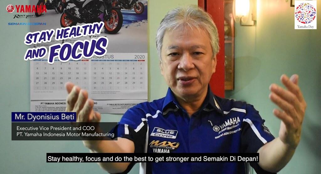 Dyonisius Beti (Executive Vice President & COO PT YIMM) menyampaikan pesan khusus ulang tahun Yamaha di tahun 2020