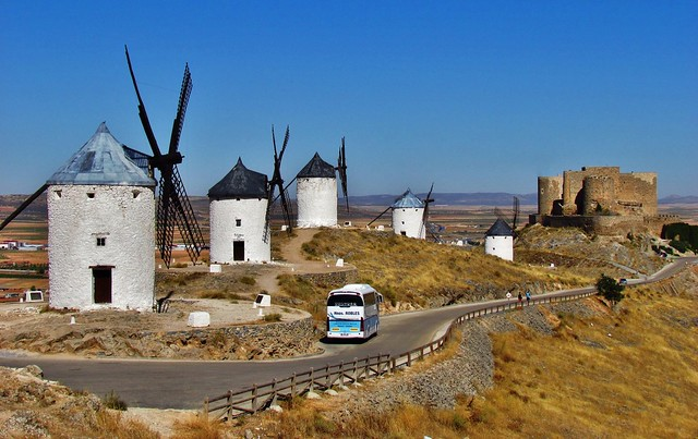 Windmills and the Castle, Consuregra, Spain