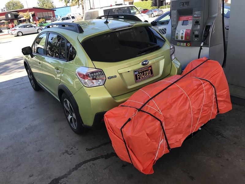 Subaru with lashed load
