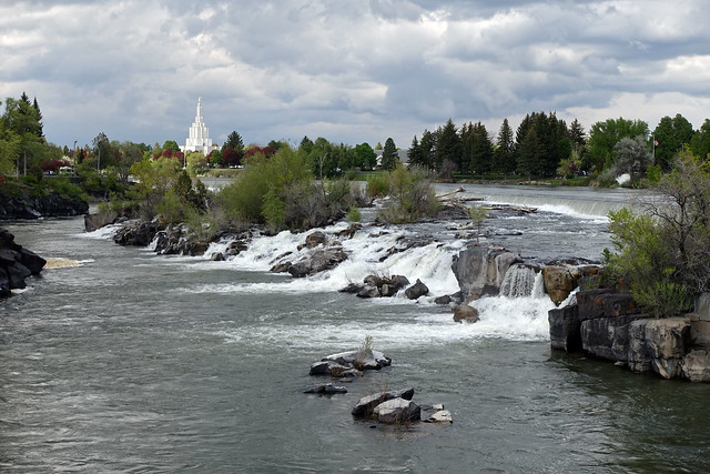 Idaho Falls & Snake River with the LDS Temple in Idaho Falls, ID