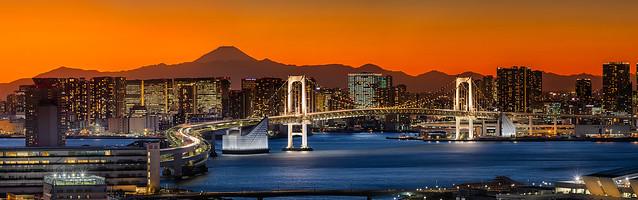 Rainbow Bridge Panorama with Mt. Fuji
