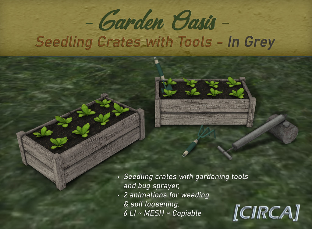 "NEW! for Secret Sale Sundays | [CIRCA] - ""Garden Oasis"" - Seedling Crates with Tools - Grey"