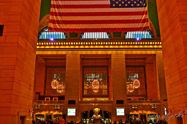 American Flag & Beautiful Interior of Grand Central Station Terminal Manhattan New York City NY P00578 DSC_0715