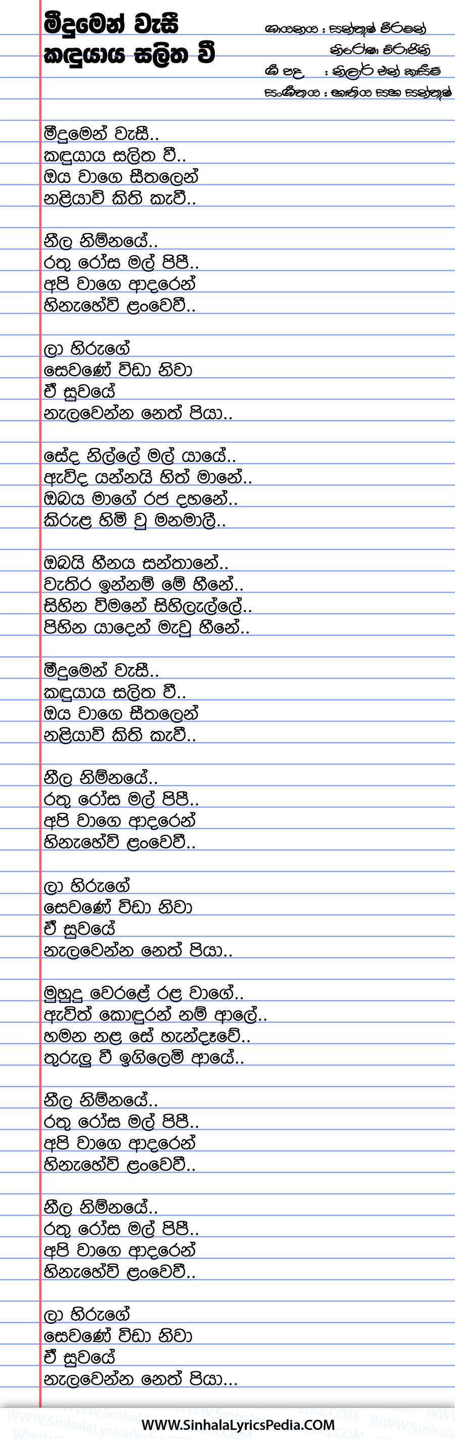 Meedumen Wasi Kandu Yaya Salitha Vee Song Lyrics