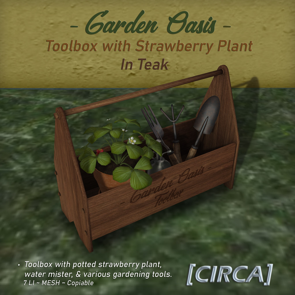 "NEW! for Secret Sale Sundays | [CIRCA] – ""Garden Oasis"" – Toolbox with Strawberry Plant – Teak"