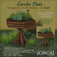 "NEW! for Secret Sale Sundays | [CIRCA] - ""Garden Oasis"" - Hexagonal Herb Tables - Teak"