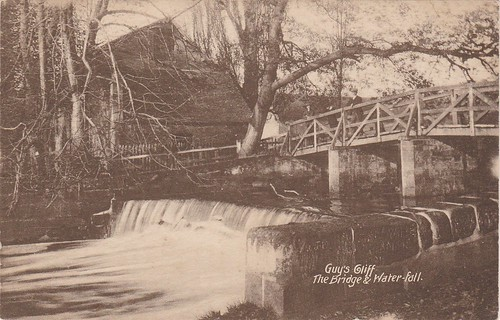 Guy's Cliff Bridge and Waterfall, Warwick, Vintage Postcard