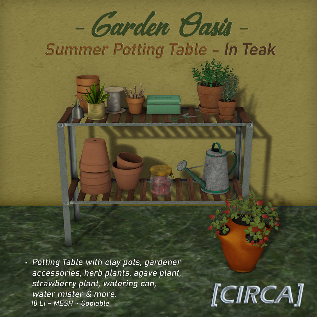 "NEW! for Secret Sale Sundays | [CIRCA] – ""Garden Oasis"" – Summer Potting Table – Teak"