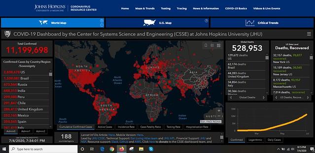 Coronavirus Global Map from JHU, 4 July 2020