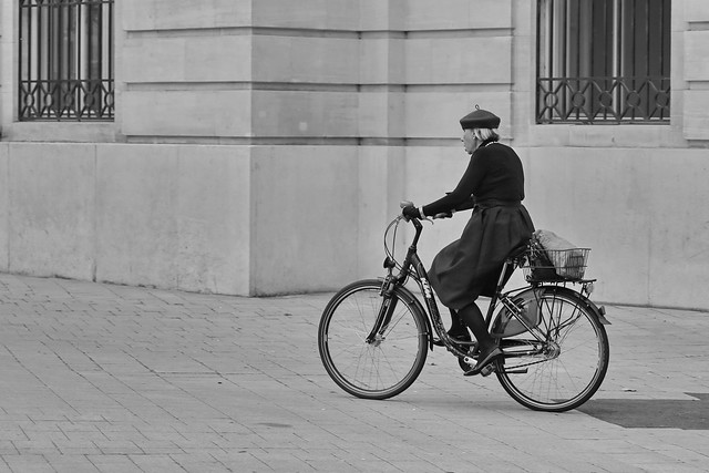 well-dressed cyclist