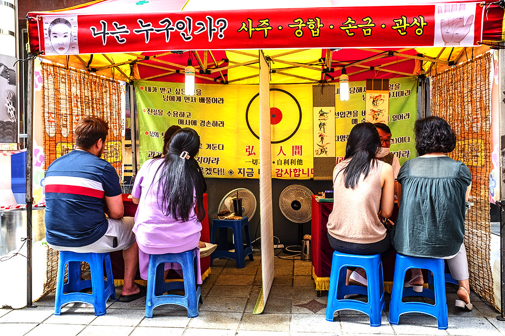 People consulting fortune tellers in Nampo-dong on 7-5-20--Busan