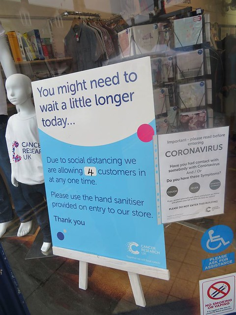 Cancer Research Oakham Rutland Saturday 4th July 2020 First Day Of Covid-19 Lock down easing Bars, Barbers, Salons, Restaurants and Coffee Shops Open