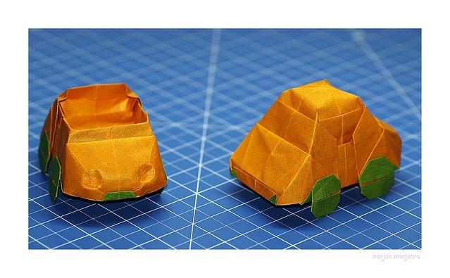 Origami Car / VW Bug (Charles Esseltine) and Origami Cabrio (Variation by Marjan Smeijsters)