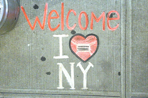 Welcome, I [heart] NY [enough to wear a mask], hand-chalked artwork (after Milton Glaser, 2020) outside Mel's Burger Bar, Broadway, Manhattan