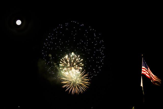 Flag, Fireworks and Full Moon